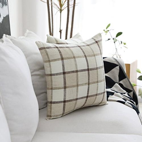 HOME Retro Throw Rustic Checkered Plaid Linen of 18 18 Beige