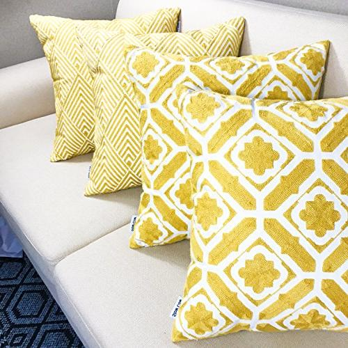 SLOW Cotton Cushion Cover Designs Throw Pillow Cover 18x18 Yellow