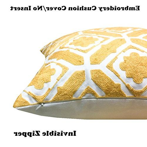 SLOW COW Cotton Embroidered Cushion Designs Throw Pillow 18x18 Yellow