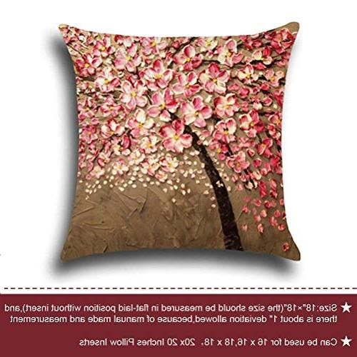 ULOVE LOVE Cotton Linen Oil Painting 18 18 Pillow Inserts, 4Pack Multicolor Trees