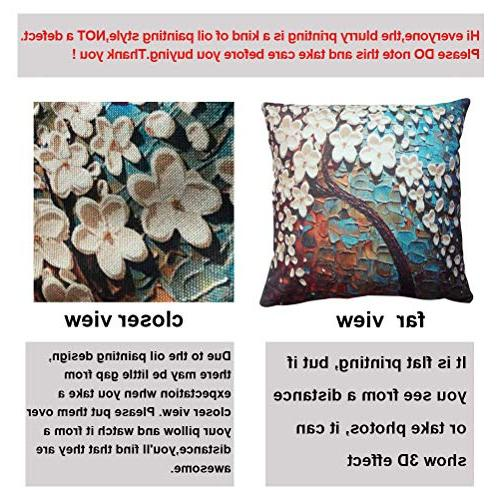 ULOVE LOVE Cotton Oil Decorative Cushion 18 Pillow Inserts, 4Pack Trees