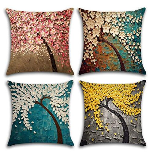 ULOVE Linen Oil Square Decorative Cushion Pillow Inserts, 4Pack Trees