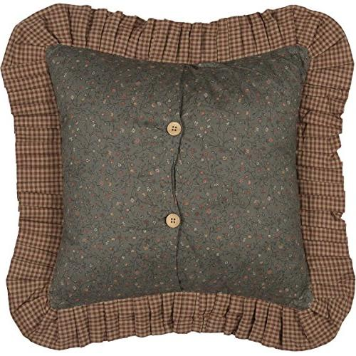 VHC Cinnamon Cotton Square Cover Dark Olive Green