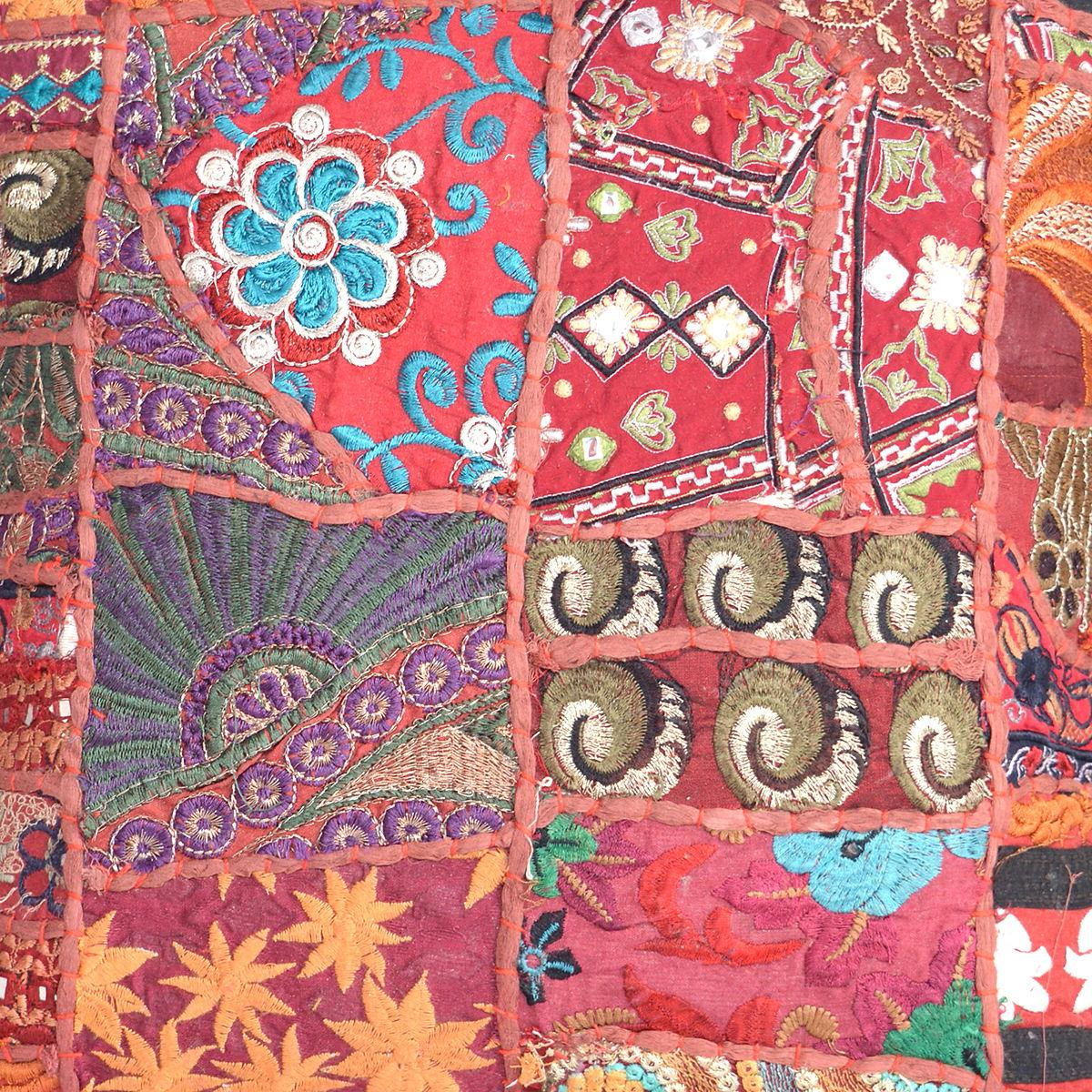 Cushion Embroidered Cotton Cover Patchwork Throw