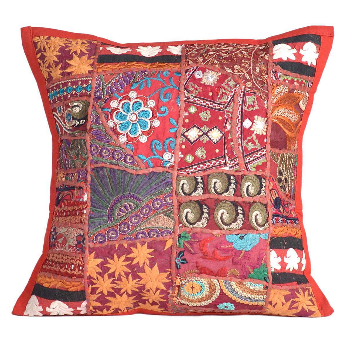 cushion embroidered cotton cover pillow indian kantha