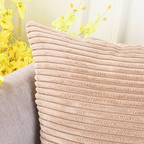 HOME BRILLIANT Soft Corduroy Striped Square Pillow Cushion Cover x inch ,