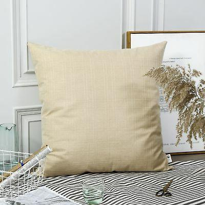 decor natural style linen checkered throw pillow