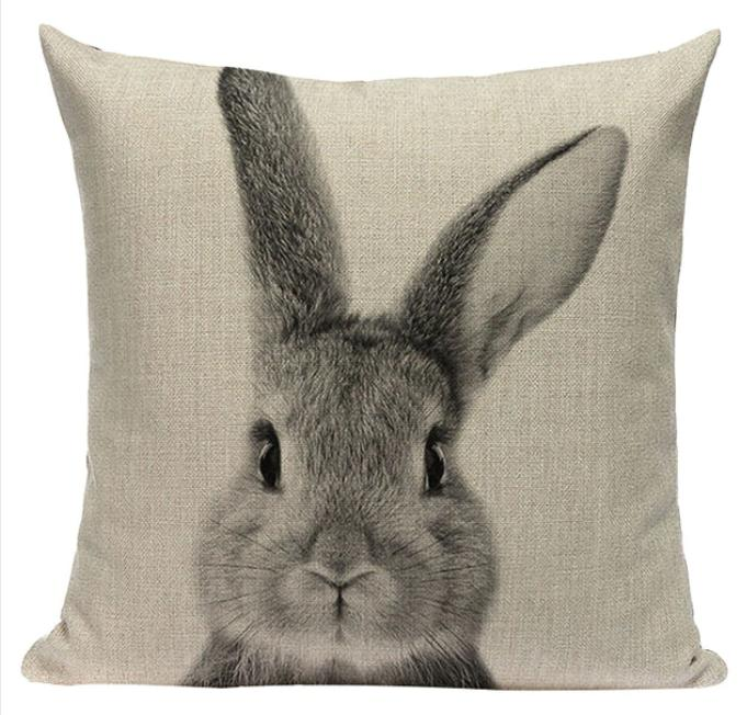 Decorative Bunny Pillow Cover 18x18
