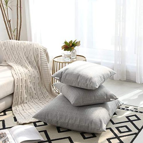 Kevin Decorative Pillow Covers Simple Cushion Case Linen Square Throw Car Set of 2, Inch, Glacier