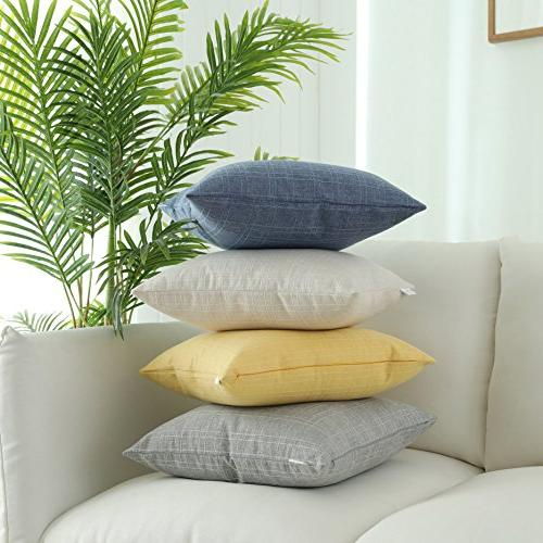 Kevin Decorative Pillow Cushion Linen Throw for Car Bed, Set 2, 18 Inch,