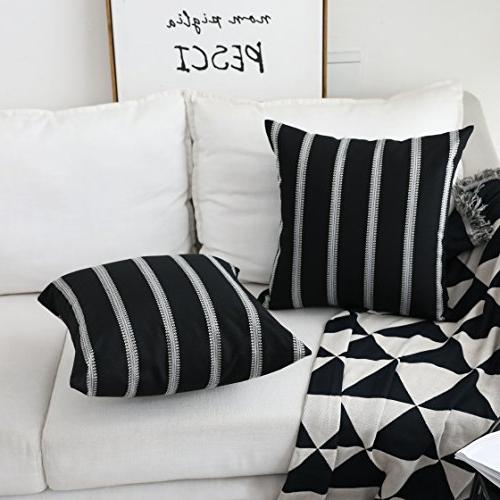 Throw Pillow Covers Modern Farmhouse Stripe for Bed Sofa Decoration, x inches,