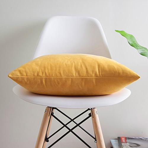 "Cover Suede Pillow Pillowcase, 18"" 2 Yellow"
