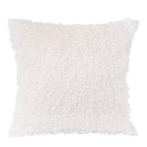 """Kevin Textile Decorative Cover Throw Tassels/Noka Cover Euro for Bed/Car/Chair, Pieces, 12""""x20"""", Snow White"""