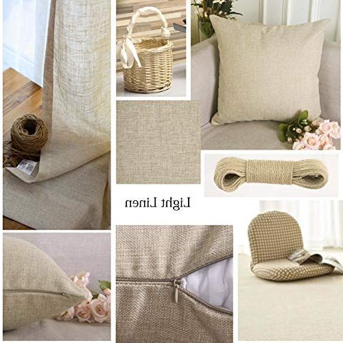 HOME Lined Burlap Throw Pillow Cover Cushion Cover for Set 2, Linen