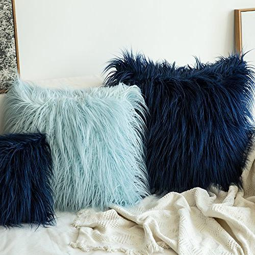 MIULEE Pack Decorative New Style Fur Throw Pillow Case Cushion Cover for Sofa Bedroom 18 18 Inch 45