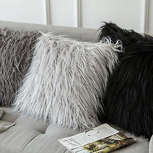 MIULEE Pack of 2 Decorative New Luxury Style Faux Fur Throw Pillow Case Cover Sofa Car 20 Inch 50 cm