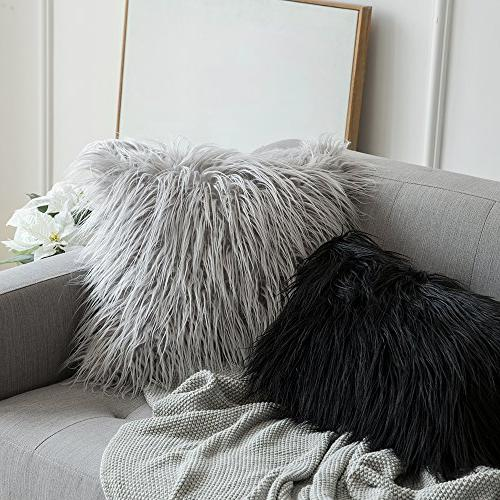 MIULEE Decorative Series Style Black Faux Fur Throw Case Cushion Cover Sofa Bedroom Car x 20 Inch 50 cm