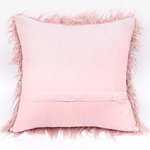 """Kevin New Luxury Merino Fur Throw Pillow Case Cushion Pillow for Bed/Couch, 2 Pc, 18"""" Pink"""