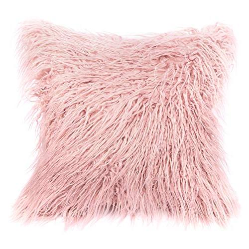 """Kevin Textile Decorative New Luxury Series Fur Pillow Cushion Cover Cover for 18"""" x Pink"""
