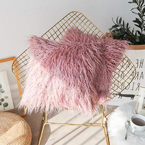 """Kevin Luxury Series Fur Throw Cushion Cover for Pc, 18"""" x 18"""", Millennial Pink"""