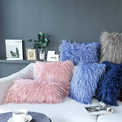 """Kevin Luxury Series Merino Style Fur Throw Cushion Cover for 18"""" Millennial Pink"""