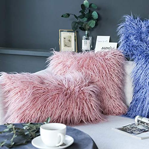 """Kevin Decorative Luxury Series Fur Throw Cushion Cover for Bed/Couch, 2 18"""" x Pink"""