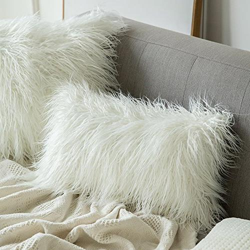 MIULEE Decorative New Luxury Series Style White Faux Fur Cushion Cover for Sofa Bedroom Car 12 x 20 Inch 50 cm