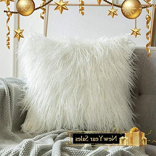 MIULEE Series White Fur Cushion for Bedroom Car 12 x 20 Inch 50