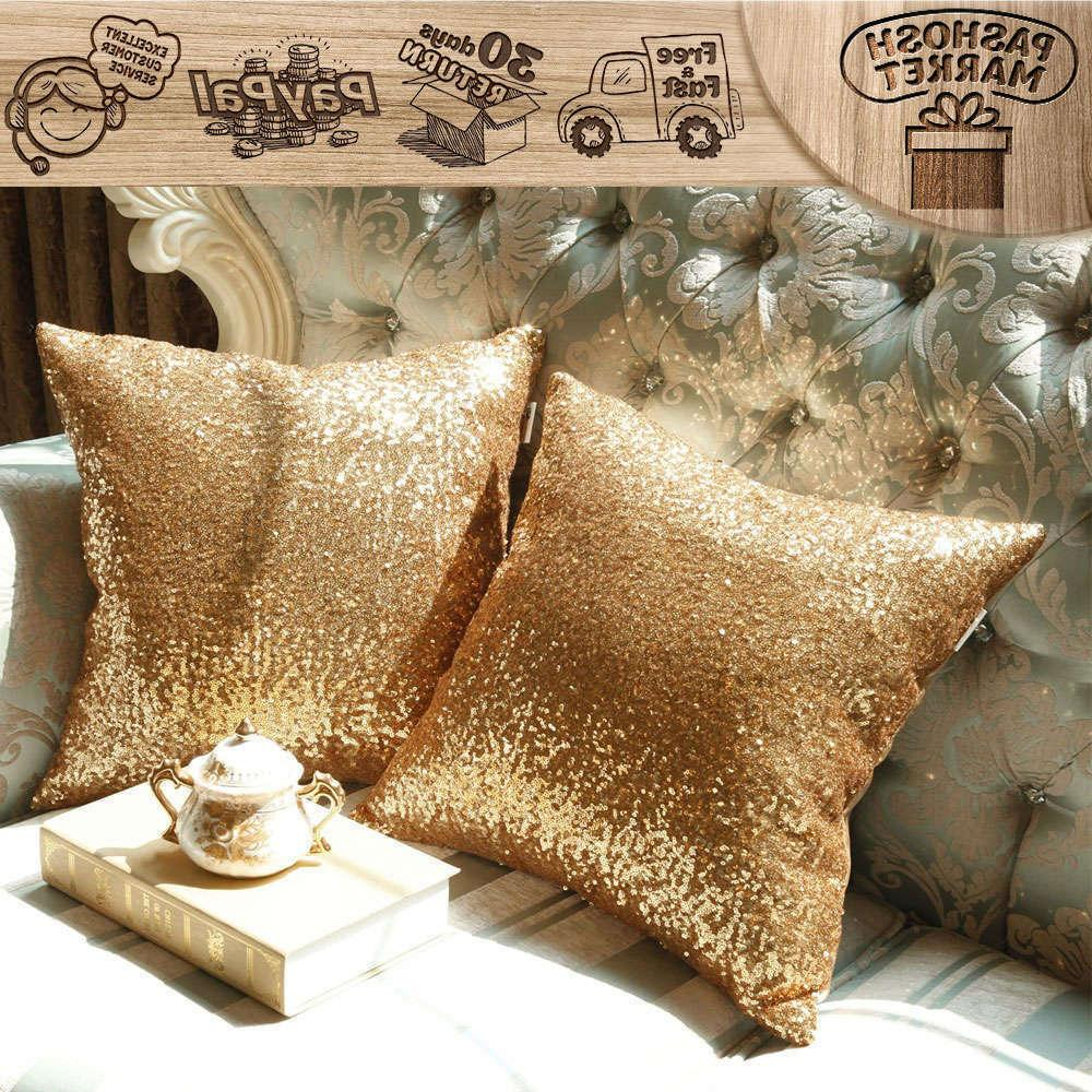 """2 Cover Pillow 18X18"""" Gold"""