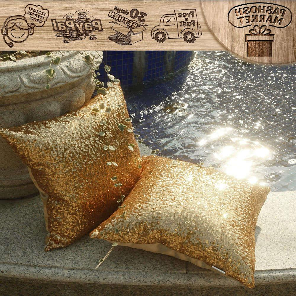 """2 Pack Pillow Cover Case Throw Pillow Cover 18X18"""" Gold"""