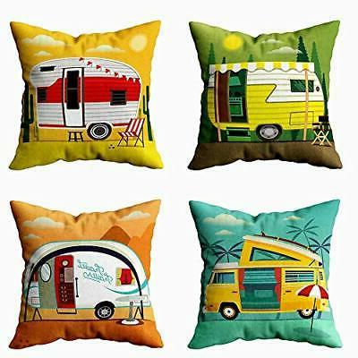 EMMTEEY Decorative Pillows for Couch, Set of 4 18X18 Inch Pi
