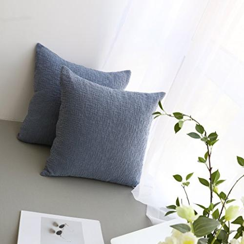 Kevin Soft Velvet Striped Throw Pillow Cushion for Couch, 18 inch, Blue, 2