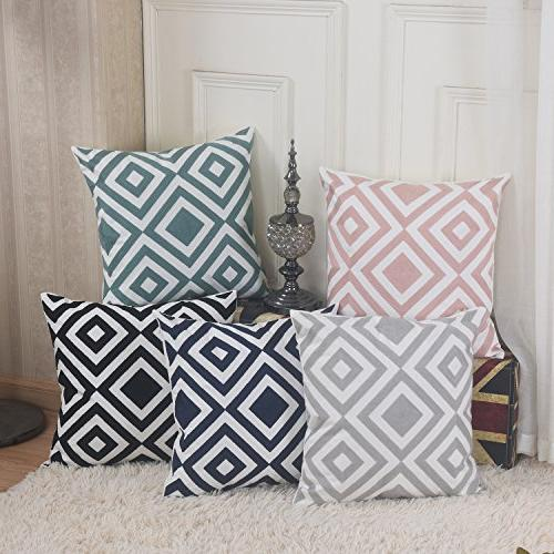 Home Square Embroidery Throw Pillow for and White