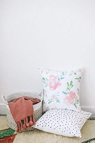 Woven Pillow Covers ONLY for Couch, or Set of 4 x 18 Modern Quality Design Floral Polkadot Metallic Pink