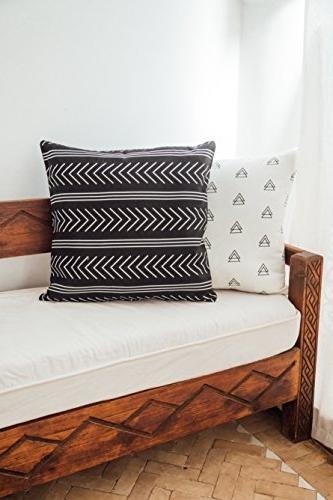 Woven Throw Pillow Covers ONLY Couch, Sofa, Set of x inch Modern Quality Design Cotton Stripes