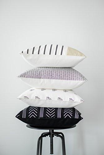 Woven Pillow ONLY Couch, Sofa, or Bed Set of 4 x Quality Design 100% Cotton Stripes Set