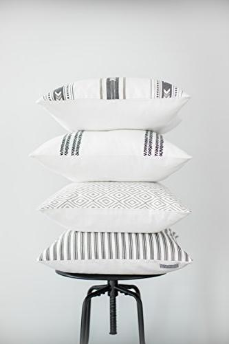 Woven Decorative Pillow Covers for Couch, Sofa, Set x 18 inch Quality Design 100% Stripes