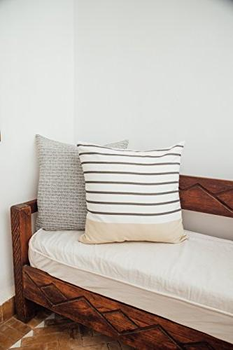 Woven Decorative Pillow Covers Couch, Set x inch Quality Stripes Geometric Atlas Set