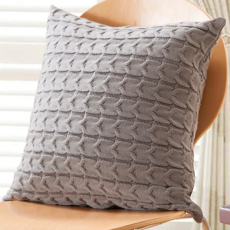 Double-Side Cable Knit Throw Pillow Cushion Cover Gray Cotto