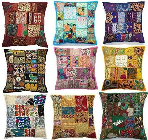 embroidered sari patchwork cushion cover