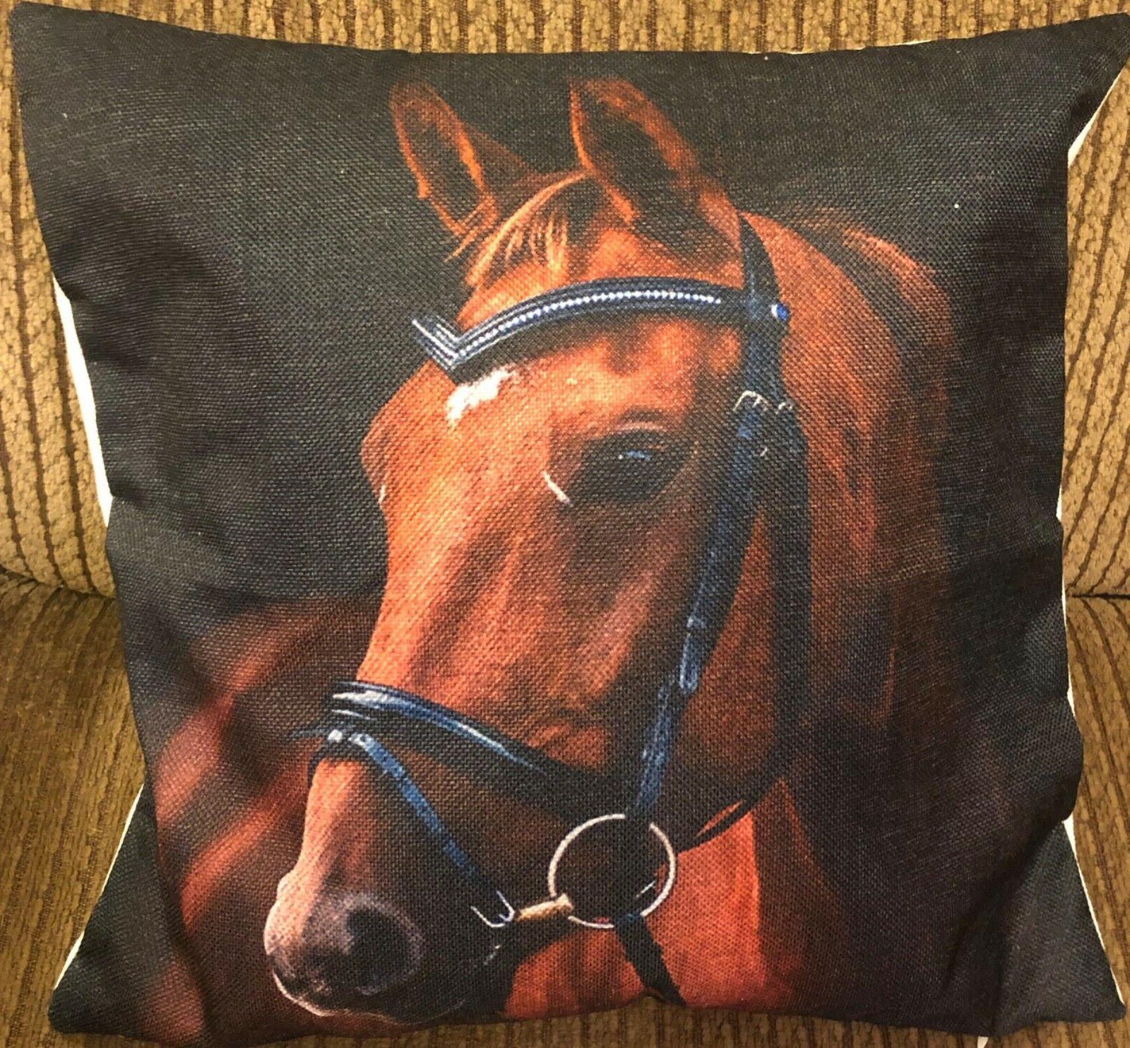 equestrian horse head throw pillow