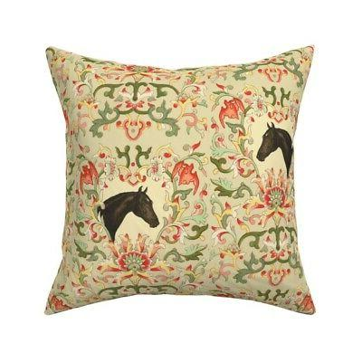 equestrian horse pony floral throw pillow cover