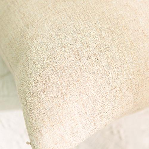 HOME Throw Pillow Striped Chenille Blend Cover inch, Tan