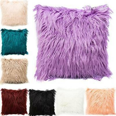 Square Throw Fur Fluffy Sofa Pillow Cases Soft Plush Cushion