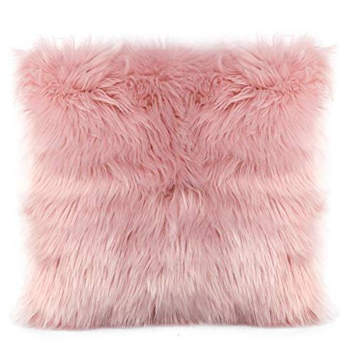 faux fur throw pillow cover
