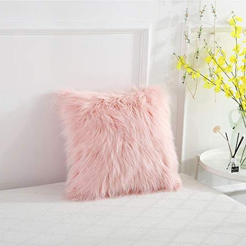 Ojia Fur Pillow Cover Cushion Case Super Plush Pillows Decorative Luxury