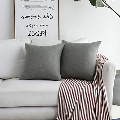 faux linen gray burlap throw pillow covers