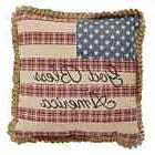FLAG Pillow God Bless America Country Rustic Primitive Patri