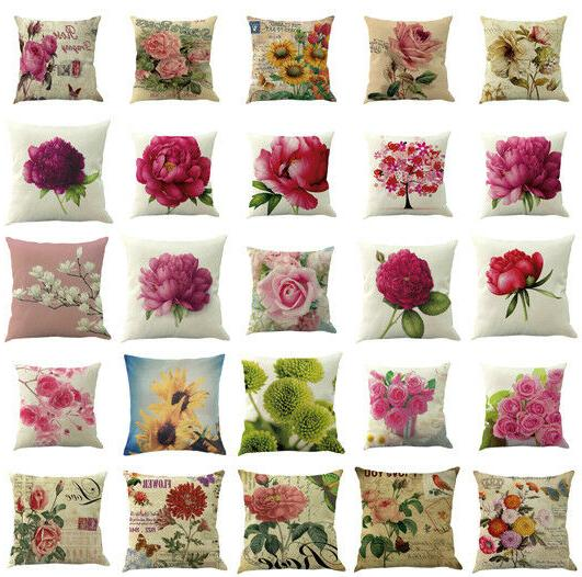 floral cotton linen square home throw pillow