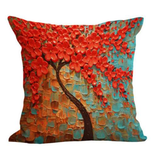 Floral Linen Throw Pillow Cushion Cover Bed